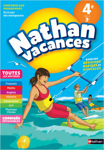 Cahier de Vacances 2021 de la 4ème vers la 3ème - Toutes les matières - Nathan Vacances collège