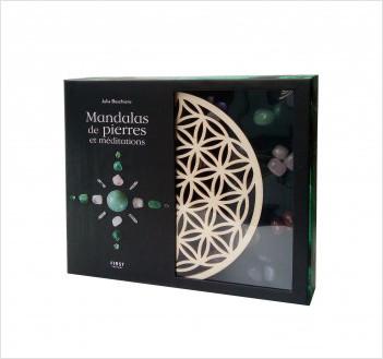 Coffret Mandalas de pierres et méditations - contient 1 socle en bois + 26 pierres + 1 livre