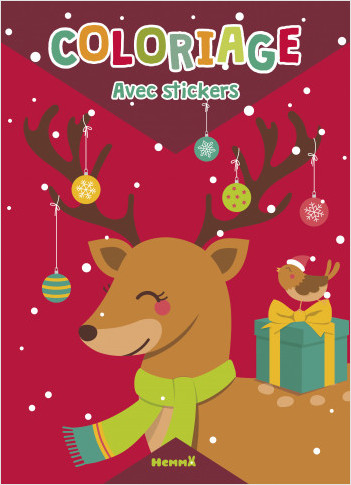 Coloriage avec stickers - Renne