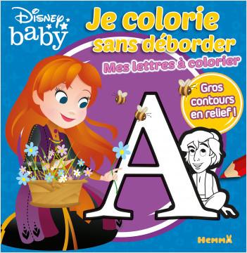 Disney Baby - Je colorie sans déborder - Mes lettres à colorier - Livre de coloriage avec bords en relief - Dès 3 ans